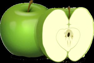 Et og et halv grønt eple.