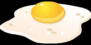 Illustrasjon av stekt egg.