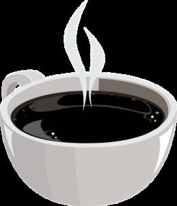 Illustrasjon av en rykene kopp kaffe