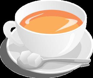 Illustrasjon av en kopp te og sukkerbiter på en skje